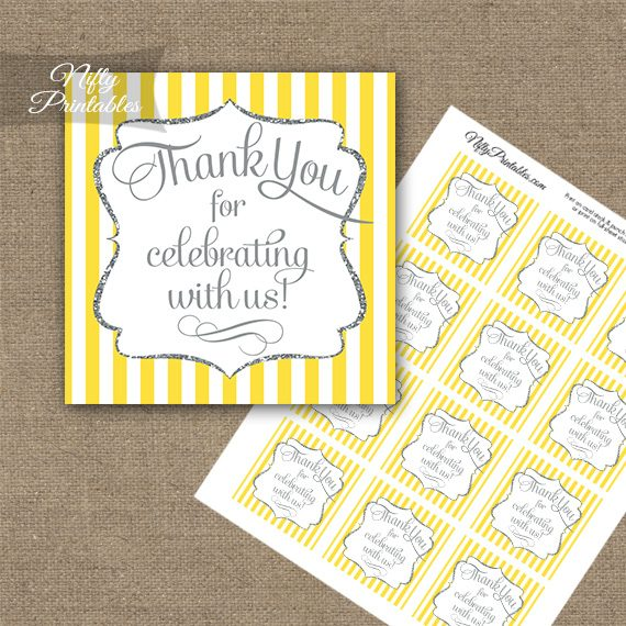 Yellow White Silver Stripe Thank You Favor Tags