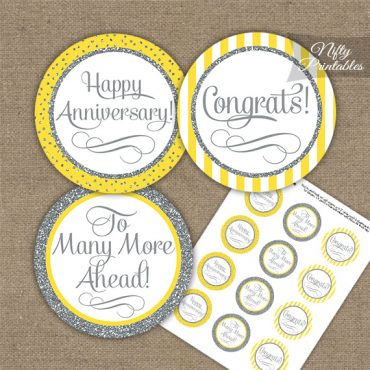 Anniversary Cupcake Toppers - Yellow Silver Stripe