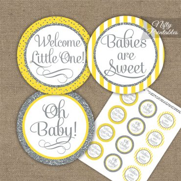 Baby Shower Cupcake Toppers - Yellow Silver Stripe