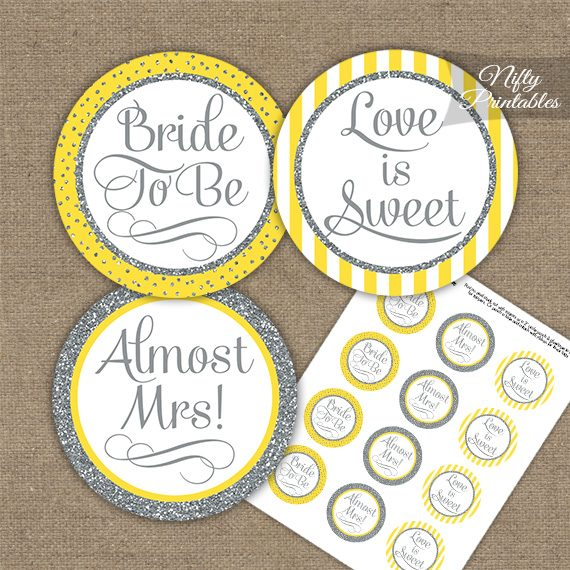 Bridal Shower Cupcake Toppers - Yellow Silver Stripe