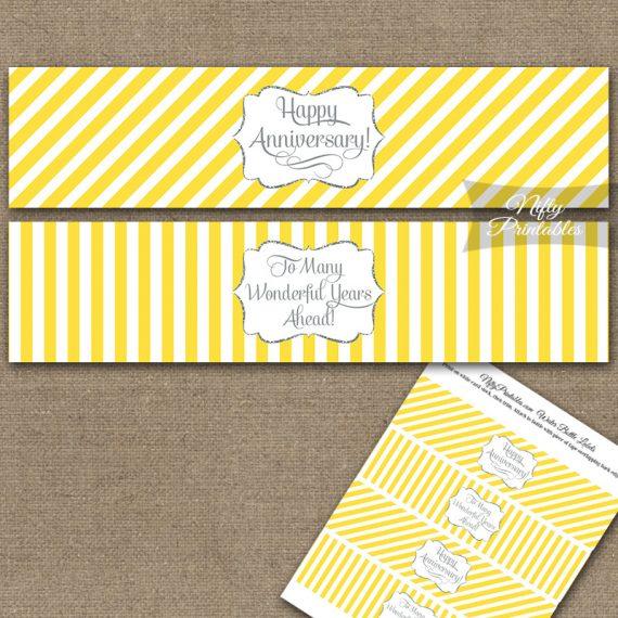 Anniversary Water Bottle Labels - Yellow Silver Stripe