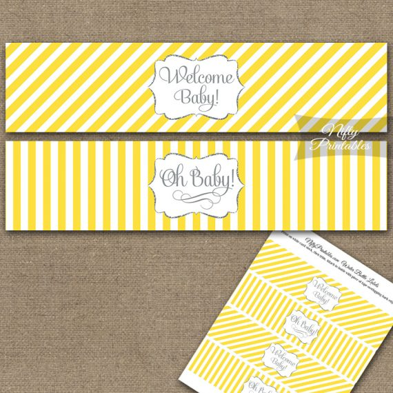 Baby Shower Water Bottle Labels - Yellow Silver Stripe