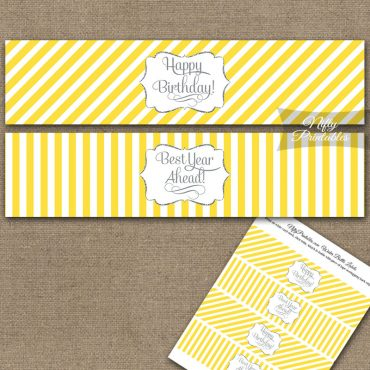 Happy Birthday Water Bottle Labels - Yellow Silver Stripe