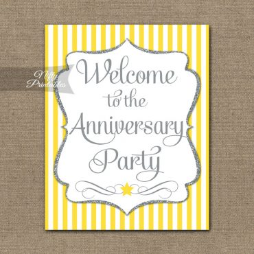 Anniversary Welcome Sign - Yellow Silver Stripe