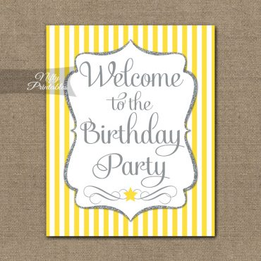 Happy Birthday Welcome Sign - Yellow Silver Stripe