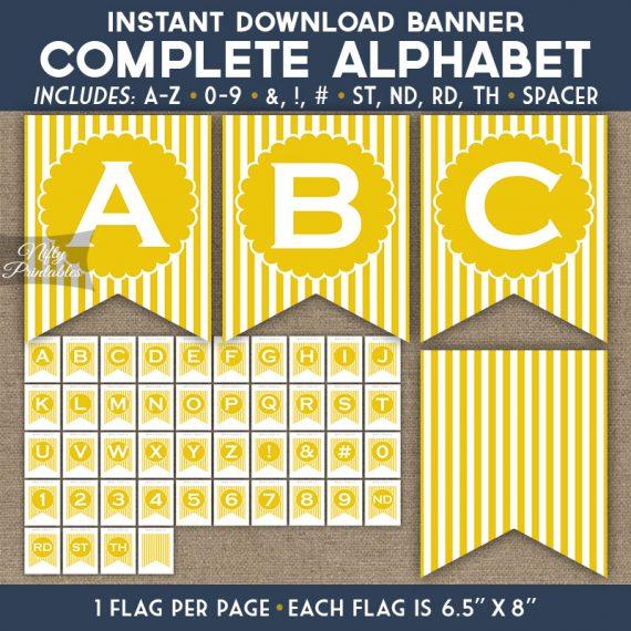 Alphabet Party Banner - Yellow White Stripe