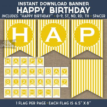 Happy Birthday Banner - Yellow White Stripe