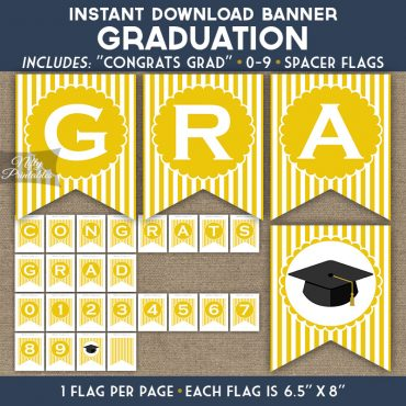 Graduation Banner - Yellow White Stripe