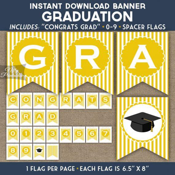Graduation Banner - Yellow White Stripe