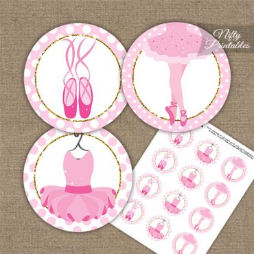 Ballet Dancer Pink Dots Cupcake Toppers