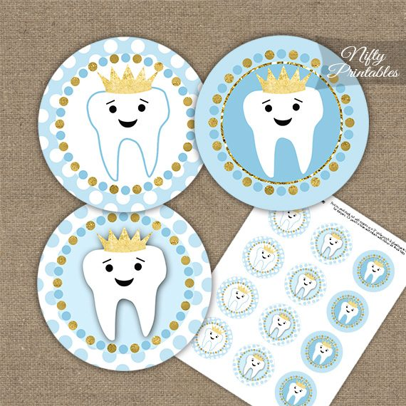 Tooth Dental Blue Gold Cupcake Toppers
