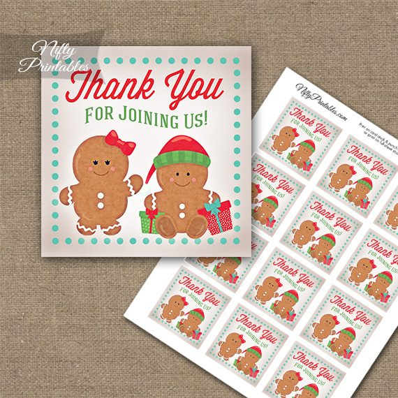 Gingerbread Holidays Thank You Favor Tags