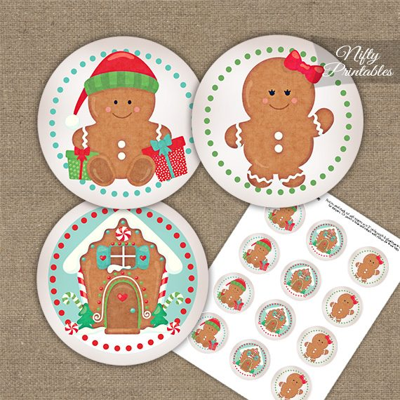 Gingerbread Holidays Cupcake Toppers