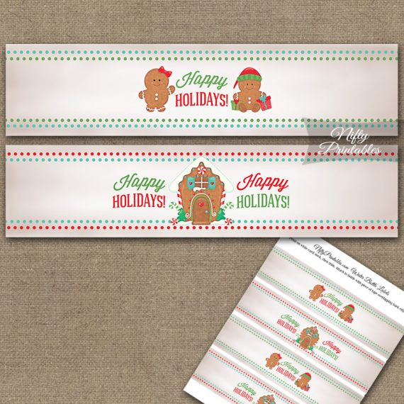 Gingerbread Holidays Water Bottle Labels