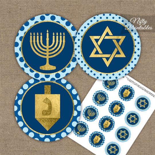 Hanukkah Blue Gold Dots Cupcake Toppers