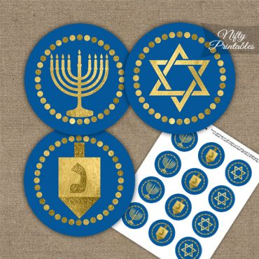 Hanukkah Navy Blue Gold Cupcake Toppers