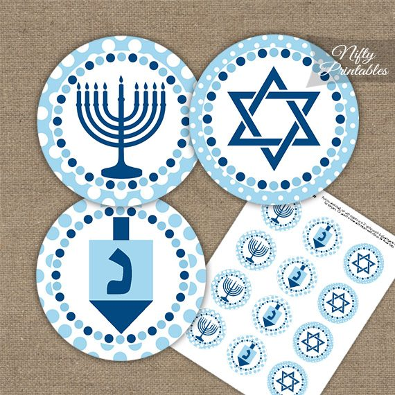 Hanukkah Light Blue Dots Cupcake Toppers