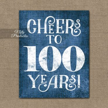 100th Birthday Sign - Blue Linen