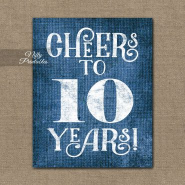 10th Anniversary Sign - Blue Linen
