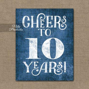 10th Anniversary Sign - Blue Linen