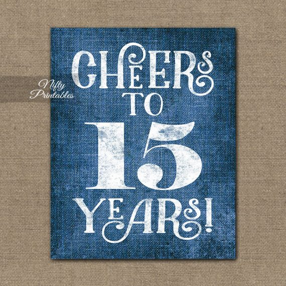 15th Anniversary Sign - Blue Linen