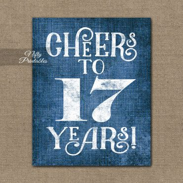 17th Birthday Sign - Blue Linen