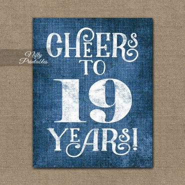 19th Birthday Sign - Blue Linen