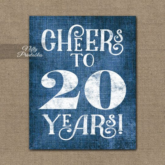 20th Anniversary Birthday Sign - Blue Linen