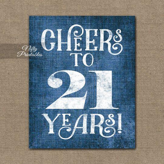 21st Birthday Sign - Blue Linen