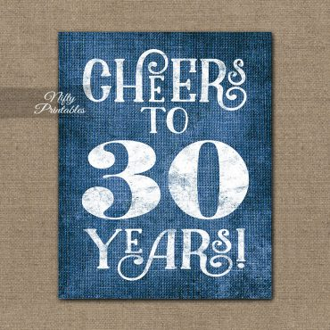 30th Birthday Anniversary Sign - Blue Linen