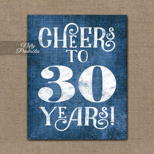 30th Birthday Anniversary Sign - Blue Linen