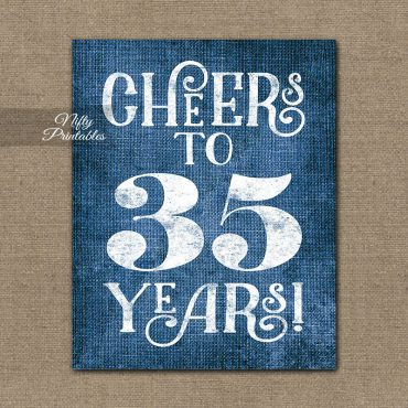 35th Birthday Sign - Blue Linen