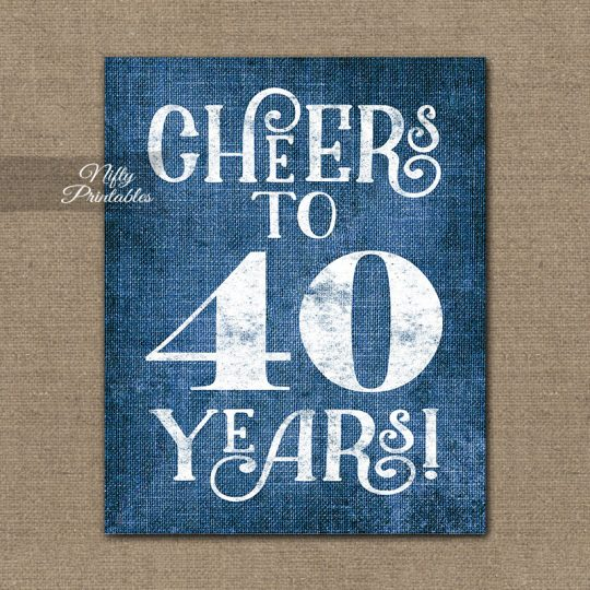 40th Birthday Anniversary Sign - Blue Linen