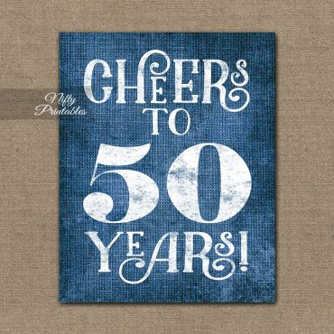 50th Birthday Anniversary Sign - Blue Linen
