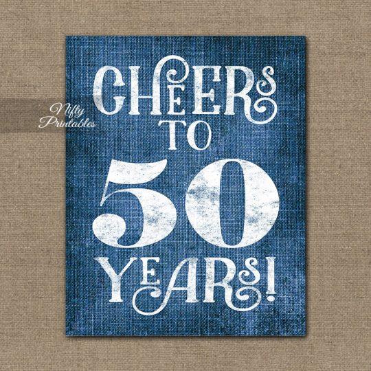 50th Birthday Anniversary Sign - Blue Linen
