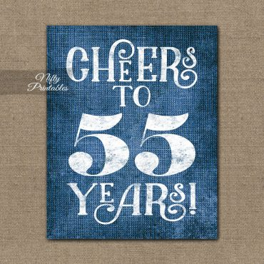 55th Birthday Sign - Blue Linen