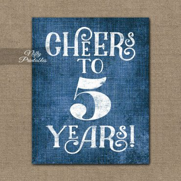 5th Anniversary Sign - Blue Linen