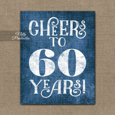 60th Birthday Anniversary Sign - Blue Linen
