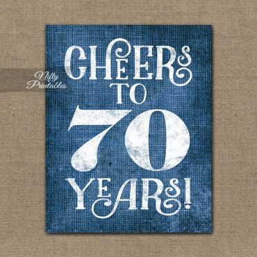 70th Birthday Sign - Blue Linen