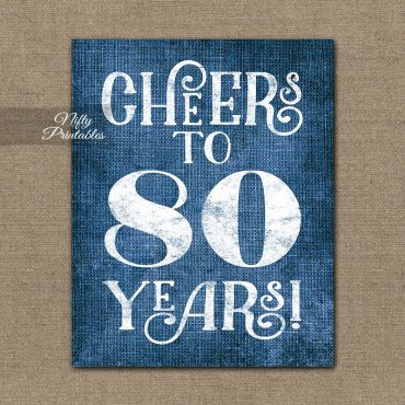 80th Birthday Sign - Blue Linen