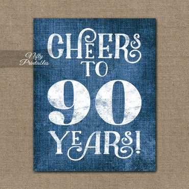 90th Birthday Sign - Blue Linen