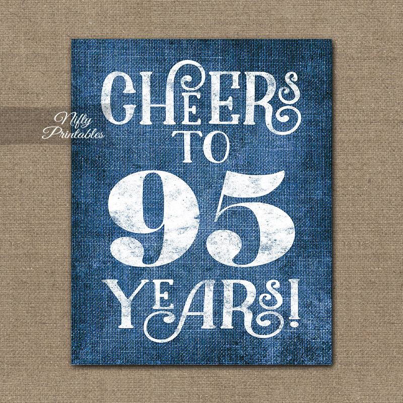 95th Birthday Sign Blue Linen