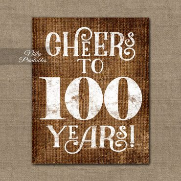 100th Birthday Sign - Brown Linen
