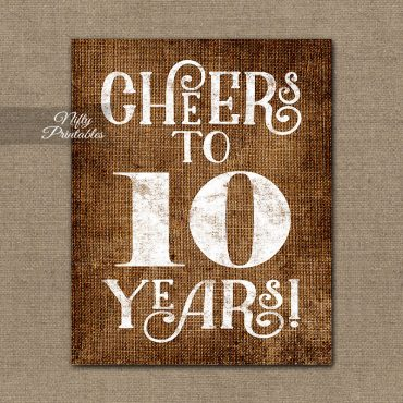 10th Anniversary Sign - Brown Linen
