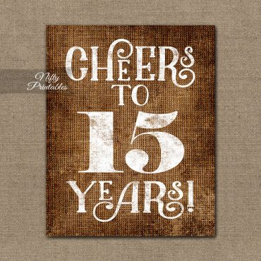15th Anniversary Sign - Brown Linen