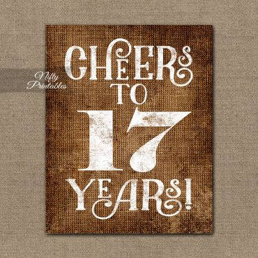 17th Birthday Sign - Brown Linen
