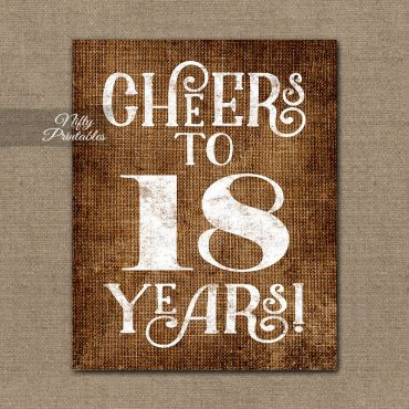 18th Birthday Sign - Brown Linen