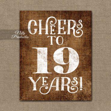 19th Birthday Sign - Brown Linen