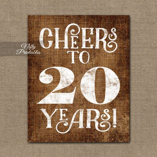 20th Anniversary Birthday Sign - Brown Linen