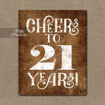 21st Birthday Sign - Brown Linen